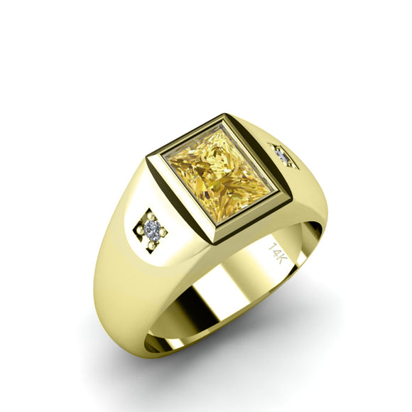 Classic Design Men's Ring with Faceted Citrine in 14K Yellow Gold with 2 Diamonds Gift for Father