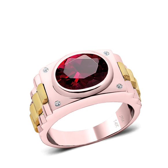 Ruby Men's Ring with Natural White Diamonds in 14K Rose Gold Anniversary Gift for Husband