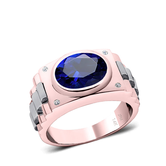Male Stone Ring 14K SOLID Gold Band with Diamonds and Bezel Princess Sapphire Anniversary Gift for Man