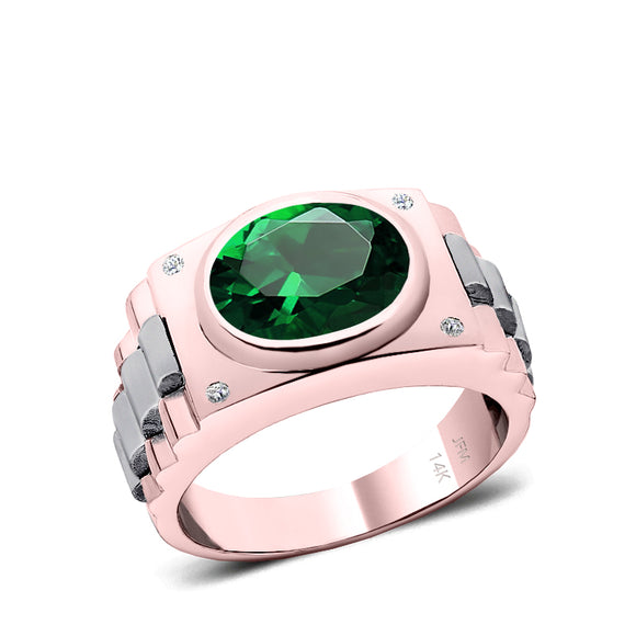 Princess Cut Emerald Men's Ring with Natural White Diamonds in 14K Rose Gold Engraved Male Band