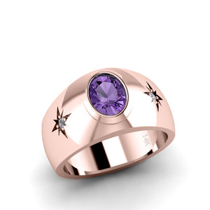 Diamond Ring for Man SOLID 14K Rose Gold Oval Amethyst Gemstone Unique Male Wedding Band