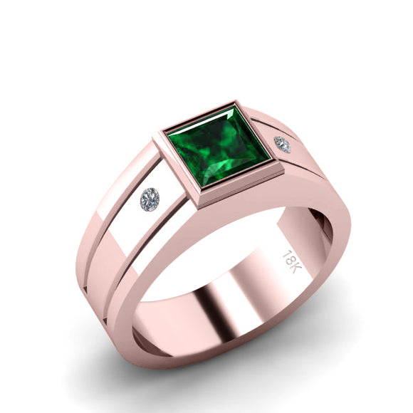 Men's Rose Gold Ring 1.80ct Square Green Emerald and Natural Diamonds Taurus Birthstone Gift