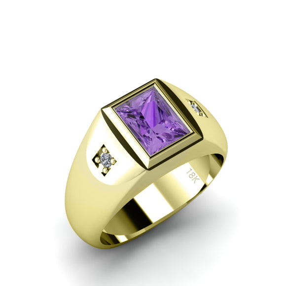 Gents Ring 18K Yellow Gold with Diamonds and Amethyst Gemstone Wideband Wedding Jewelry