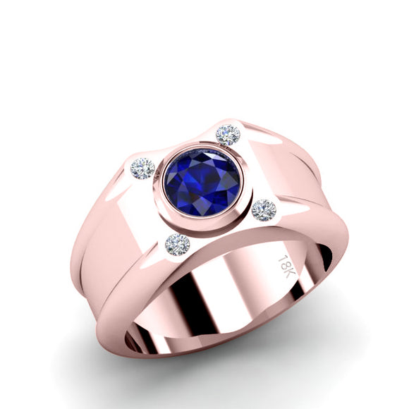 Sapphire Men's Pinky Ring with 4 Natural Diamonds in 18K Rose Gold Male Modern Wedding Band