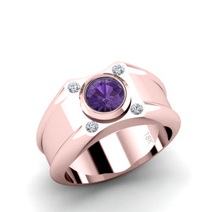 Pinky Ring SOLID 18k Rose Gold with Round Amethyst Gemstone and 4 Diamonds Engrave Ring for Man