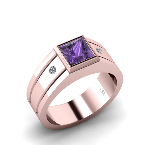 Men's Ring with Gem SOLID 18K Gold with Amethyst and Natural Diamonds Personalized Male Band
