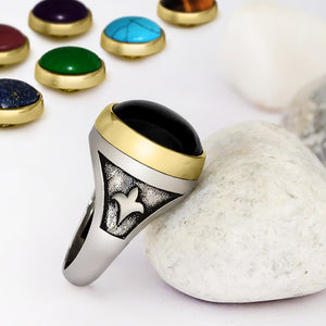 925 Sterling Silver Men's Ring with Interchangeable Gemstone Sets - J  F  M