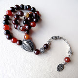 Agate Tasbih 925 STERLING SILVER Muslim 33 Prayer Beads Islamic Rosary