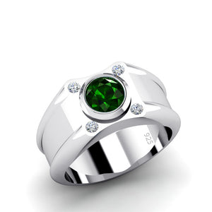 Big Men's Ring 1.7ctw Round Emerald Gemstone and Diamonds in Sterling Silver