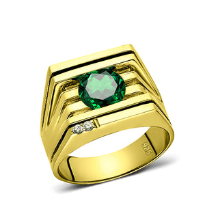 925 Real Solid Silver 18K Gold Plated Emerald 2 Diamond Accent Ring For Men