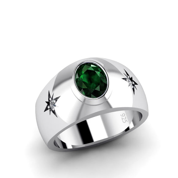 Green Emerald Ring for Man with 0.06 ct Diamonds in Sterling Silver