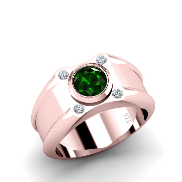 18K GP Silver Ring for Man 0.12ct Diamonds Green Emerald Domed Signet Band Anniversary Gift