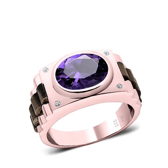 Amethyst and Diamond Ring Rose Gold Plated Solid 925 Silver Band Male Wedding Jewelry