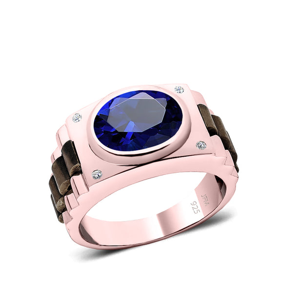 925 Silver Signet Ring with Blue Stone Rose Gold Plated Men's Engagement Band with Natural Diamonds