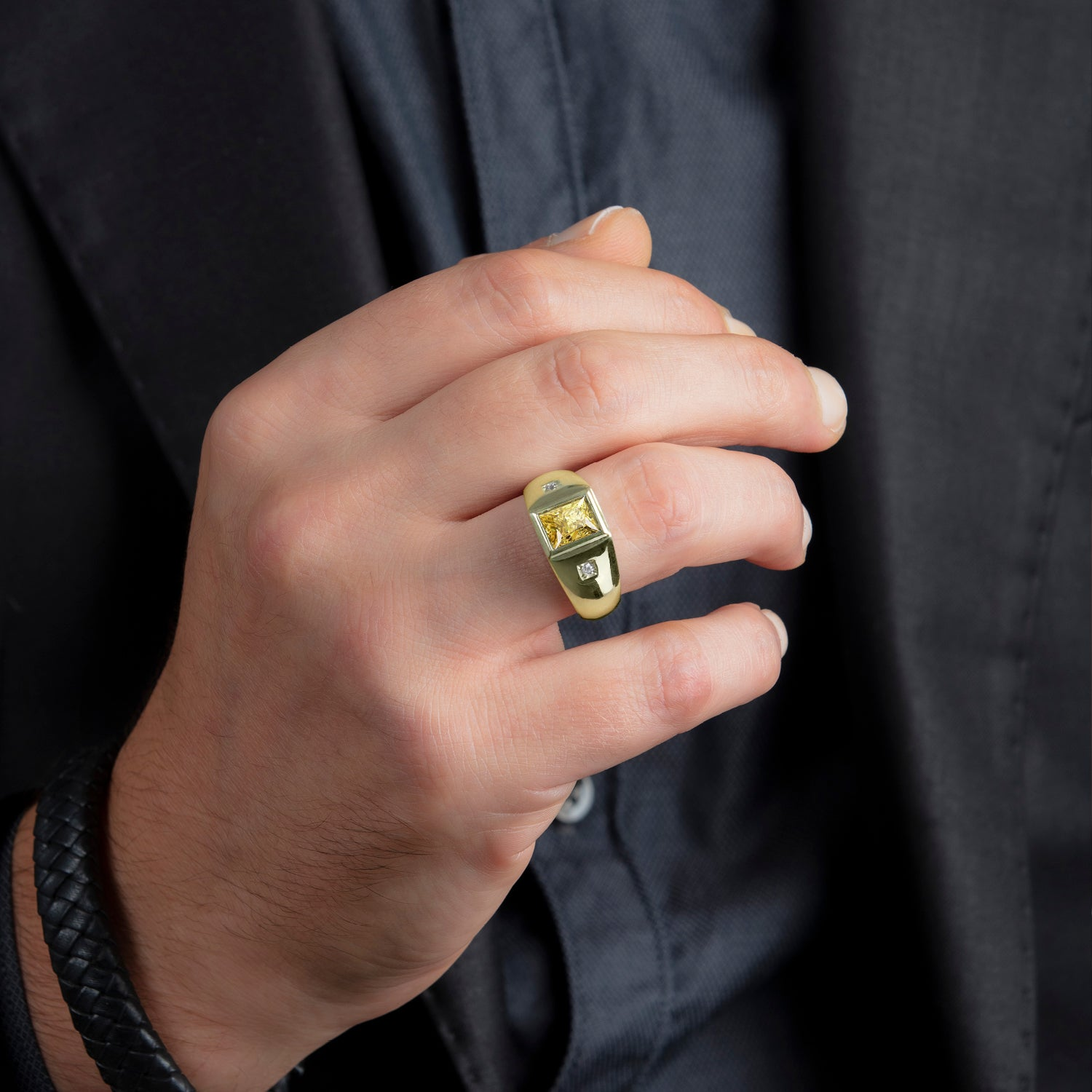 Men's Ring with 2.40ctw Rectangular Citrine and Genuine Diamonds in Yellow Gold-Plated Silver