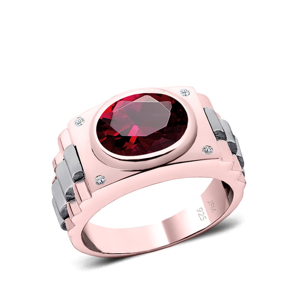 Solid Men's Ring Natural Diamonds and 4.50ct Oval Ruby Gold Plated Engagement Male Band