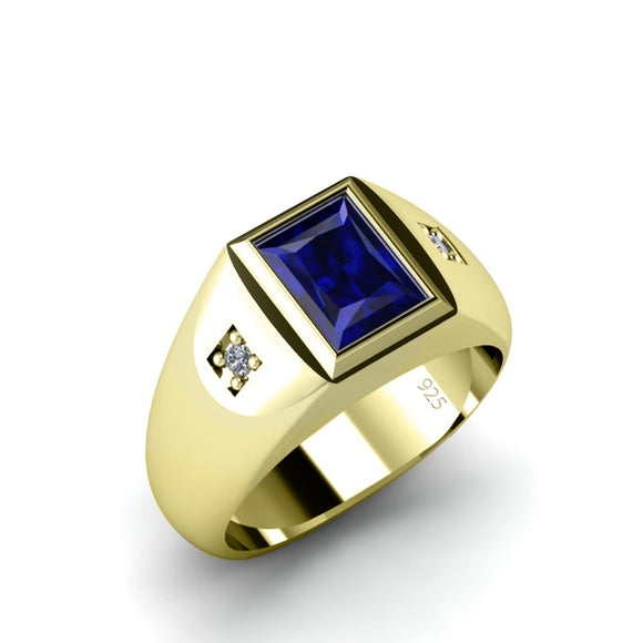 Men's Sapphire Ring with 0.06ct Genuine Diamonds in Gold-Plated Solid Silver Wedding Jewelry