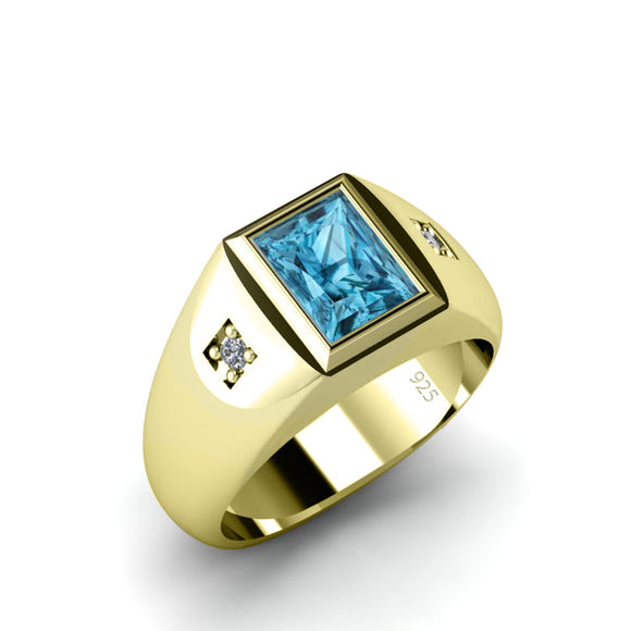 Aquamarine Ring for Men with Natural Diamonds in Gold-Plated Solid Silver Male Pinky Ring