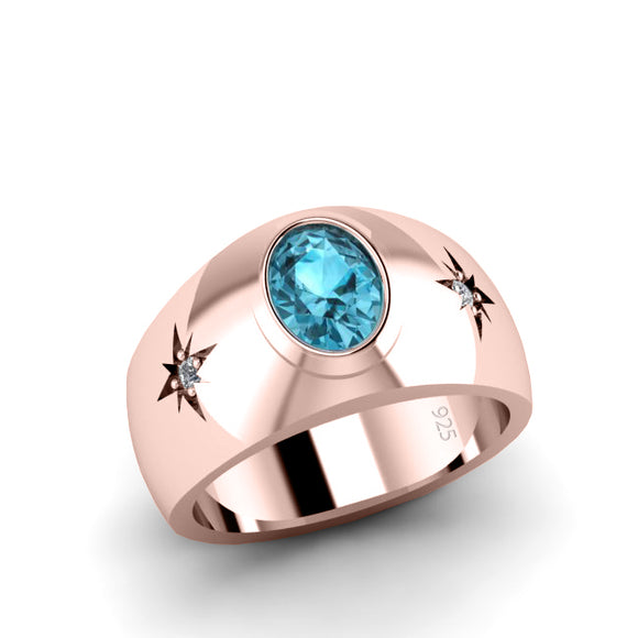 Gents Single Stone Aquamarine Ring Rose Gold-Plated Silver with Diamonds Custom Engraved