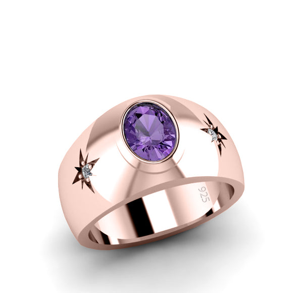 3-Stone Accented Men's Ring Amethyst in Rose Gold-Plated Silver with Diamonds Hallmarked Band