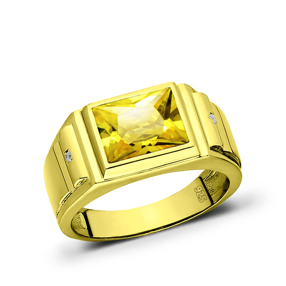 Solitaire Citrine Yellow Stone 18kt Gold Plated Mens Ring With 2 Diamond Accents