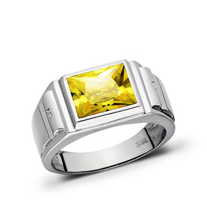 14K Stamp White Gold Shiny Square Cut Citrine Comfort Fit Mens Band Flat Ring