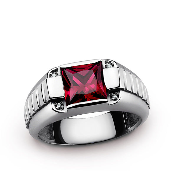 Men's Gemstone Ring in Sterling Silver with Genuine Diamonds and Red Ruby - J  F  M