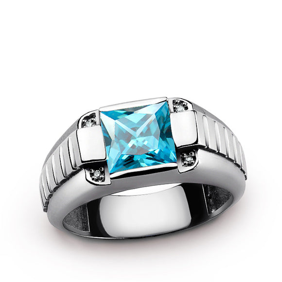 Men's Diamond Ring with Blue Topaz Gemstone in 925 Sterling Silver - J  F  M
