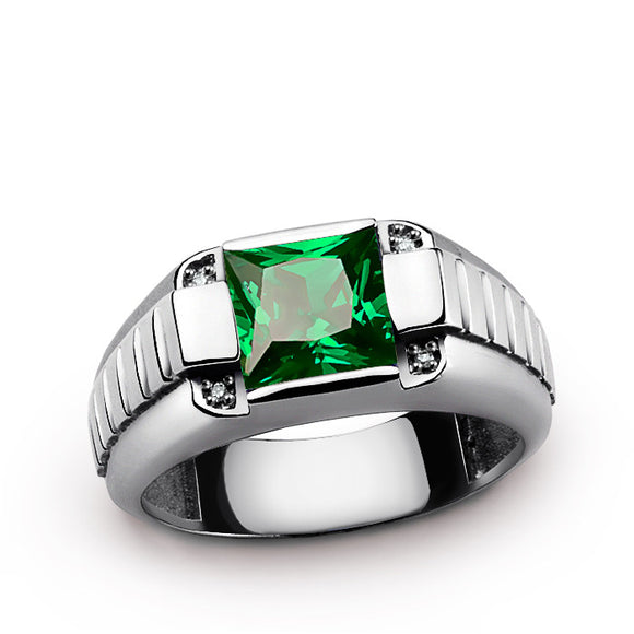 925 Sterling Silver Men's Ring with Green Emerald and Natural Diamonds - J  F  M