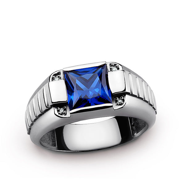 Sterling Silver Men's Ring with Natural Diamonds and Blue Sapphire Gemstone - J  F  M