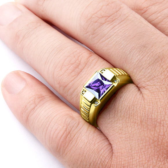 Men's 14K Yellow Gold Ring with Natural Diamonds and Purple Amethyst Gemstone - J  F  M