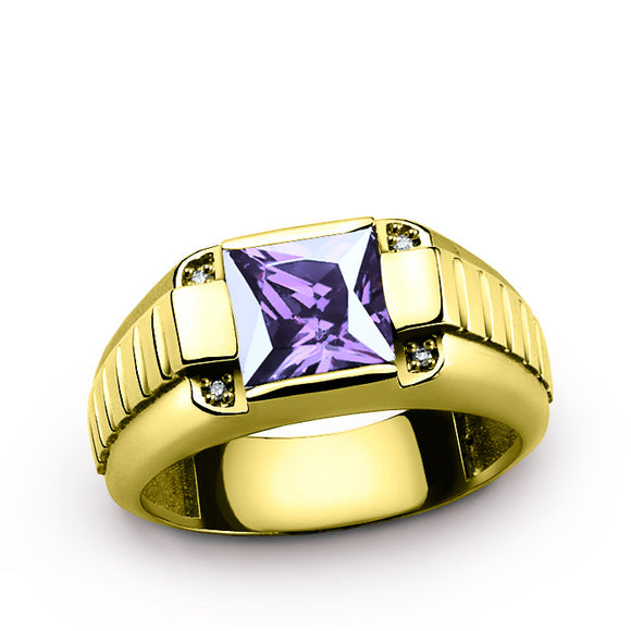 10K Gold Men's Ring with Genuine Diamonds and Amethyst, Purple Gemstone Ring for Men - J  F  M