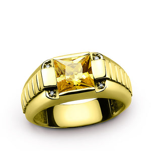 Men's 14K Yellow Gold Ring with Natural Diamonds and Yellow Citrine Gemstone - J  F  M