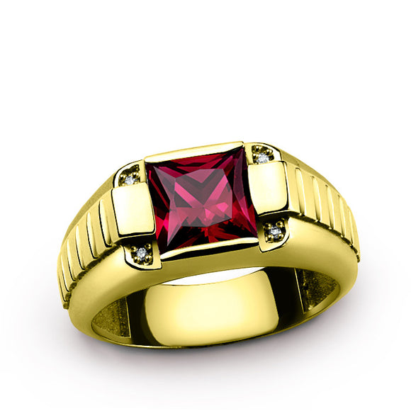 Men's Ring Natural Diamonds and Red Ruby Gemstone in 10K Yellow Gold, Statement Ring for Men - J  F  M