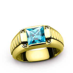 10K Yellow Gold Men's Ring with Genuine Diamonds and Blue Topaz Gemstone Ring - J  F  M