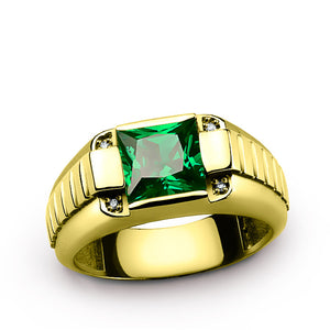 Dimaond Men's Ring 14K Yellow Gold with Green Emerald Gemstone, Genuine Diamonds Ring for Men - J  F  M