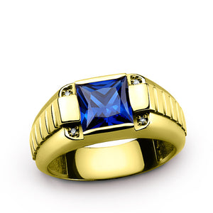 Men's Ring 14K Yellow Gold with Blue Sapphire Gemstone and Natural Diamonds - J  F  M