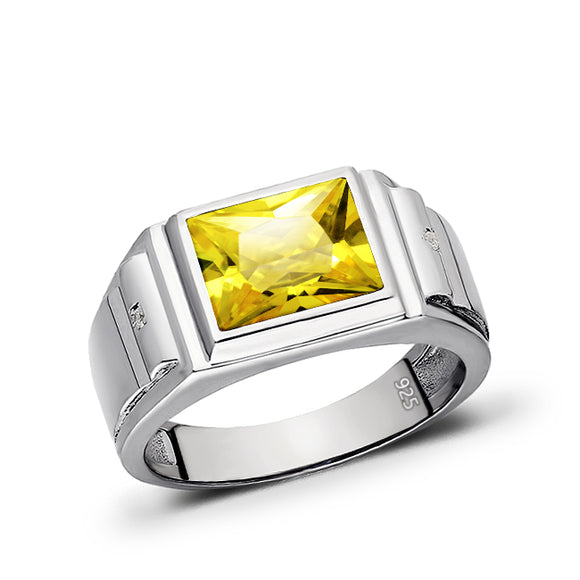 Real 925 Solid Sterling Silver Citrine Gemstone Ring for Men 2 Diamond Accents