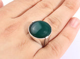 Men's Sterling Silver Ring with Green Agate Stone - J  F  M