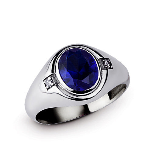 Men's Ring Sterling Silver with Blue Sapphire Gemstone and Diamonds - J  F  M