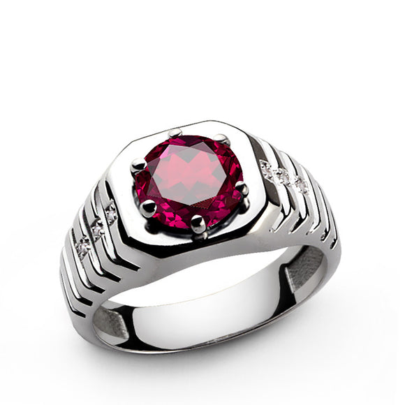 Men's Ring with Red Ruby Gemstone and Genuine Diamonds in 925 Sterling Silver - J  F  M