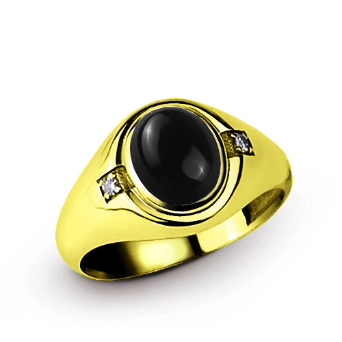 14k Fine Solid Gold with Oval Black Onyx and 2 DIAMOND Accents in Classic Mens Ring