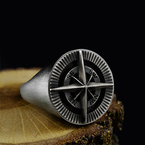 Compass Men's Signet Ring Handmade Solid 925 Oxidized Silver