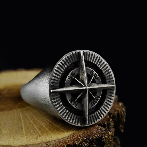 Men's Handmade Compass signet Ring Solid 925 Oxidized Silver