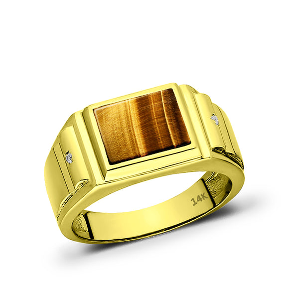 Real Fine 14K Yellow Gold Natural Tiger's Eye Mens Ring and 2 Diamonds All Size