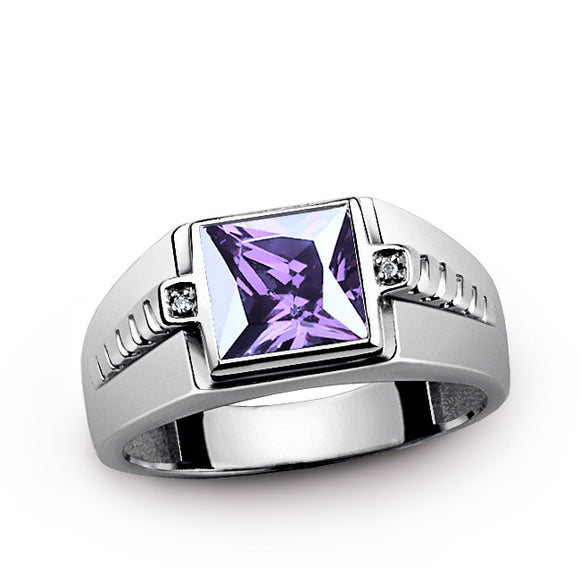 Purple Amethyst Men's Ring with Natural Diamonds in Sterling Silver - J  F  M