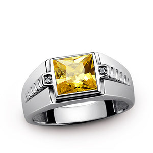 Men's Diamond Ring with Yellow Citrine Gemstone in 925 Sterling Silver - J  F  M