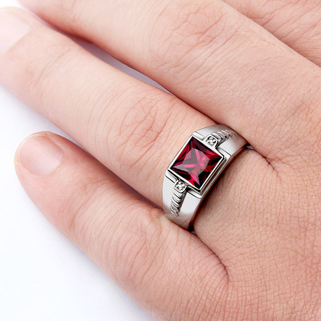 Men's Gemstone Ring with Red Ruby and Natural Diamonds in 925 Sterling Silver - J  F  M