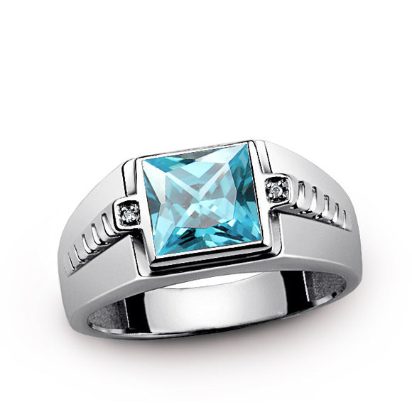 Sterling Silver Men's Ring with Genuine Diamonds and Blue Topaz Gemstone - J  F  M