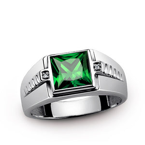 Men's Ring Sterling Silver with Green Emerald and Natural Diamonds - J  F  M